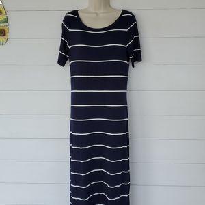 Loft Maxi T-Shirt Dress Navy Blue/White Stripes M